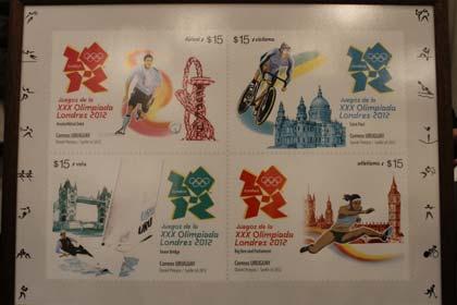 Timbres Uruguay - Jeux Olympiques de Londres 2012 (Football, Cyclisme, Voile & Athlétisme) Sellos10