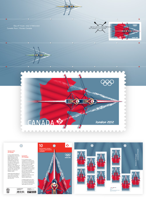 London 2012 Stamp - Canada - 1 stamp (Rowing) Signal10