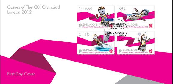 Timbre Singapour - Jeux Olympiques de Londres 2012 - Mascotte (Tennis de Table, Natation, Voile & Badminton) Singap10