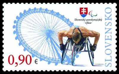 Timbre Slovaquie - Jeux Olympiques et Paralympiques de Londres 2012 (Flamme olympique et athlétisme handisport) Slovak11