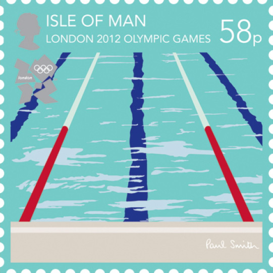 London 2012 Stamps - Isle of Man - 8 stamps Swimmi10