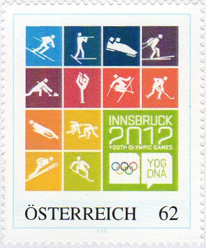 1 new stamp to be unveiled in Austria to celebrate the 1st Winter Youth Olympic Games, Innsbruck 2012 Wyog2010