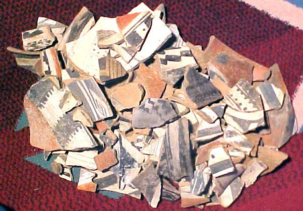 11 pounds of painted Indian Pottery Sherds. Potter13