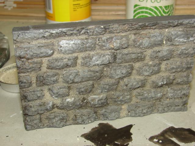 Bruchsteinmauer aus Styropor mit Lötkolben 1:22.5 Dsc04326