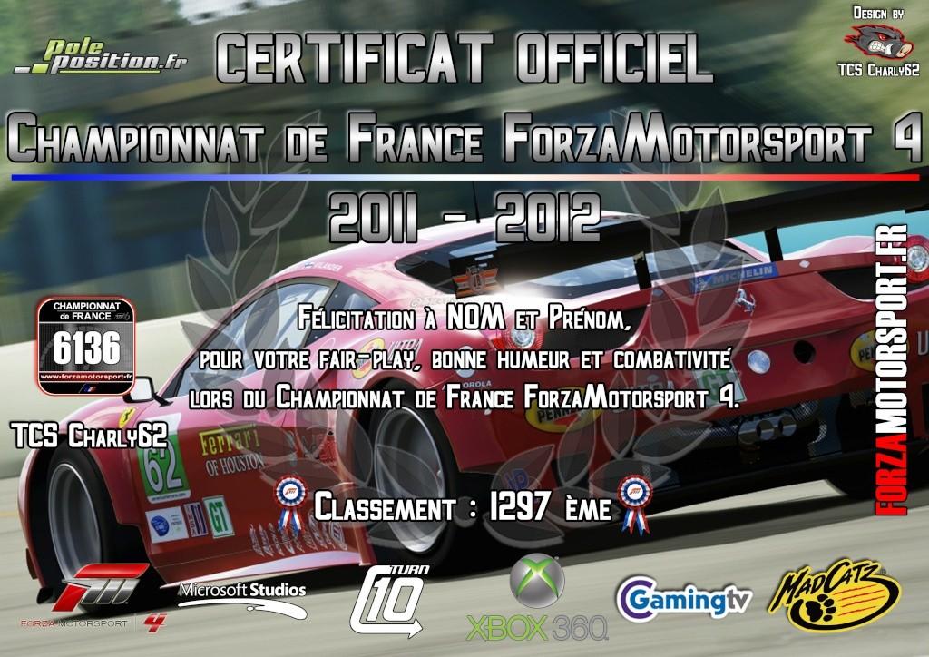 Certificat Officiel Championnat de France FORZAMOTORSPORT 4 Certif11