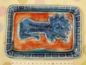 Rectangular pin dish with blue lion and red background - Italy Dscn9715