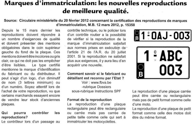 plaques AVANt - Belgique 20120510