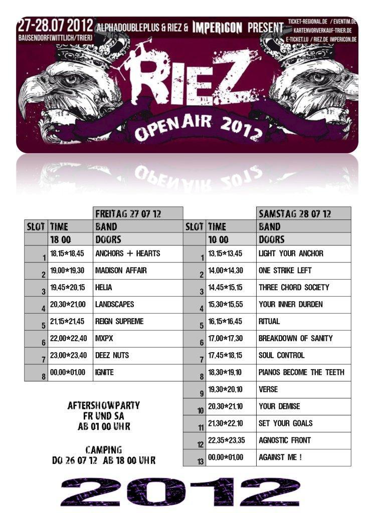 RIEZ OPEN AIR 2012 : AGAINST ME! , AGNOSTIC FRONT, IGNITE,... E693ad10