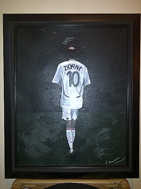 Id help with oil painter name? painting of football legend zidane  Img-2116