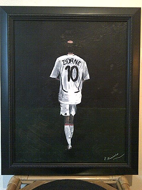 Id help with oil painter name? painting of football legend zidane  Img-2117