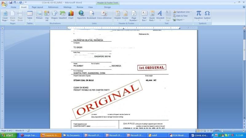 Offer Indonesia CIF  STEAM COAL in BULK  ASTM  D2234 / D2234 M-07 D2013 -07  A10