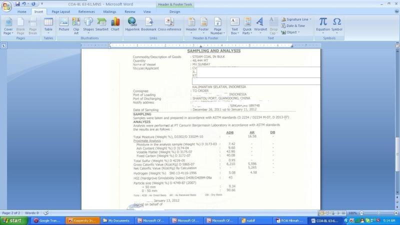Offer Indonesia CIF  STEAM COAL in BULK  ASTM  D2234 / D2234 M-07 D2013 -07  C10