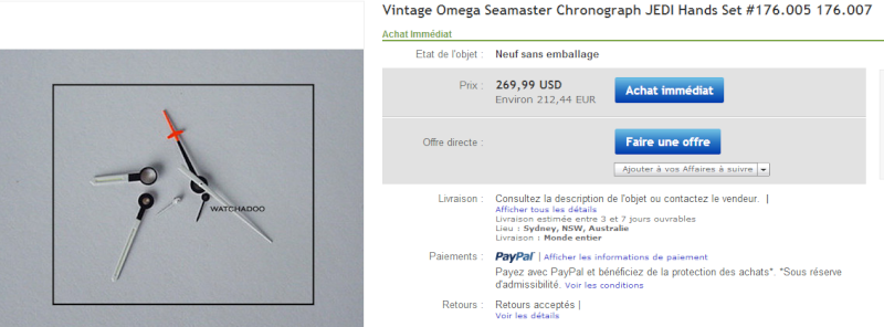 Le prix des pieces sur Ebay Omega210