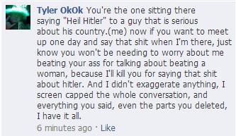 "Facebook threats ""Funny thread"".  Wereev10"
