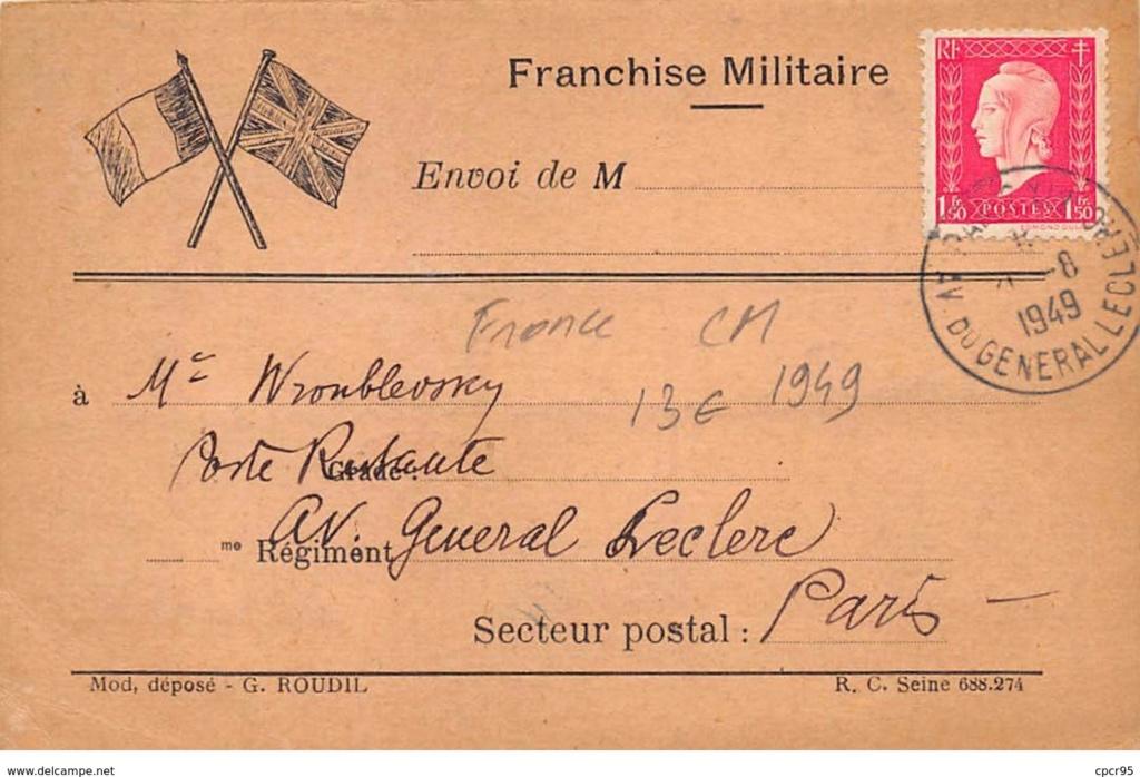 Carte  franchise militaire Paris 1949 171_0011