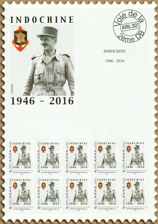 Vignette et timbres personnalisés Fondation Marechal Leclerc Indoch10