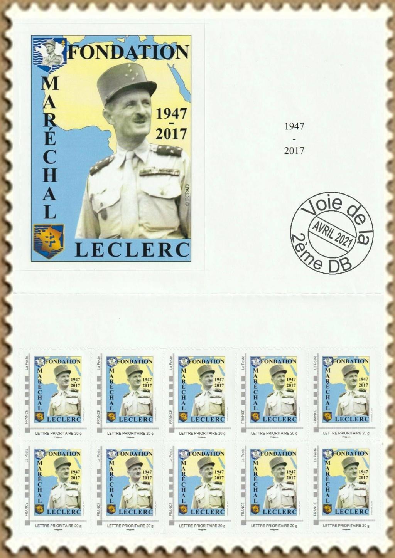 Vignette et timbres personnalisés Fondation Marechal Leclerc Indoch12