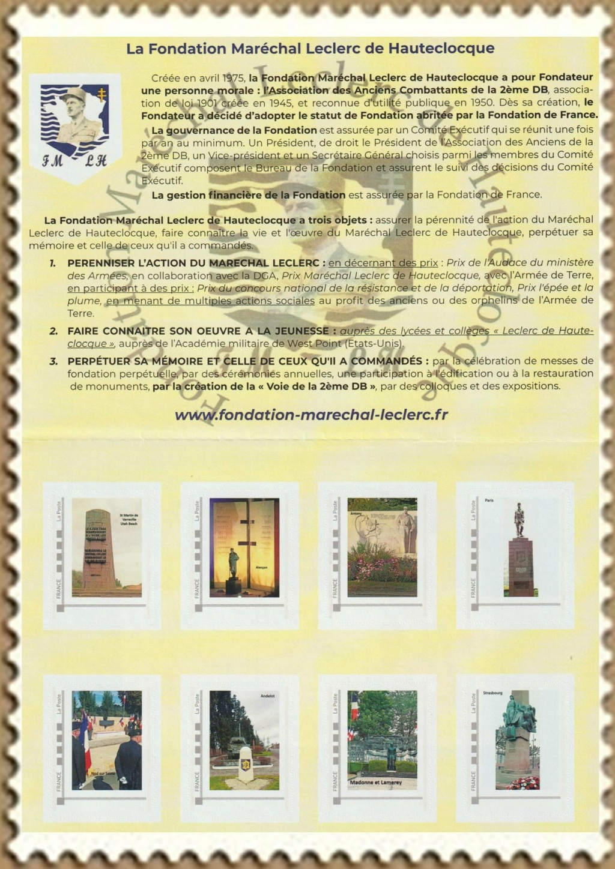 Vignette et timbres personnalisés Fondation Marechal Leclerc Indoch14