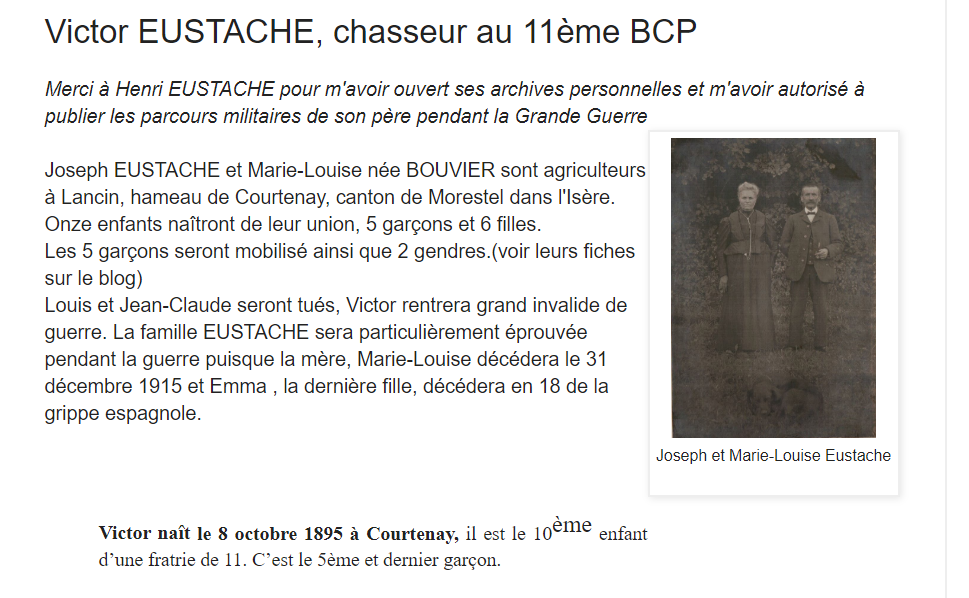 Victor Eustache, chasseur du 11° BCP. Ve10