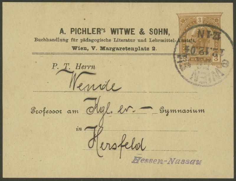 Privatganzsachen von A. Pichlers Witwe & Sohn A_104x11