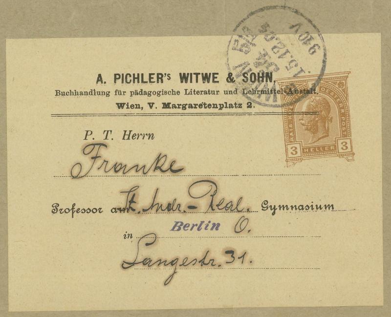 Privatganzsachen von A. Pichlers Witwe & Sohn B_104x10