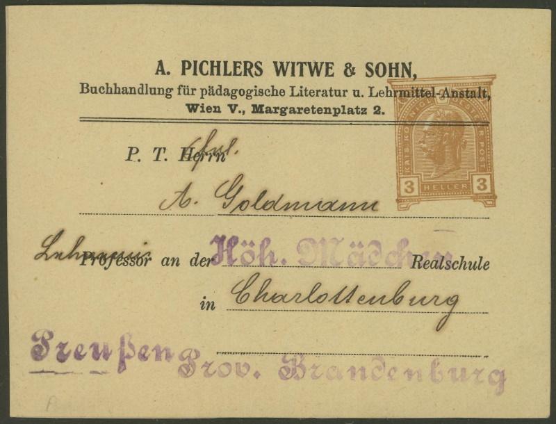 Privatganzsachen von A. Pichlers Witwe & Sohn E_104x11