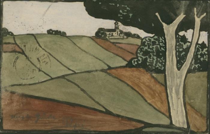 Gemälde, Zeichnungen und zugeklebte Bilder auf Ganzsachen P_260612