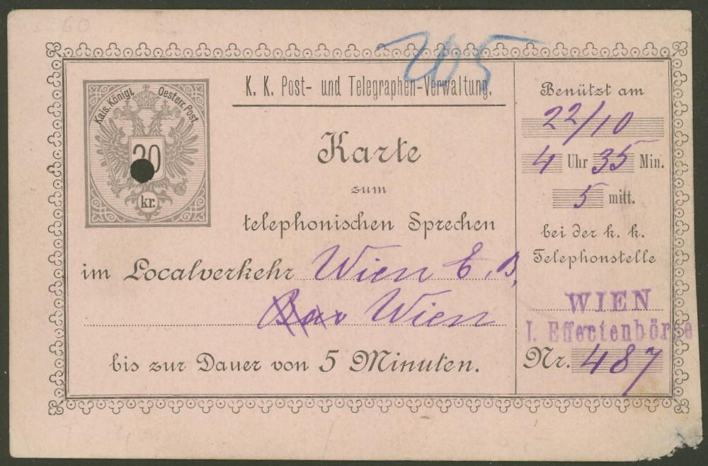 Österreichische Telephon-Sprechkarten - 1883 - 1917 Tk_411