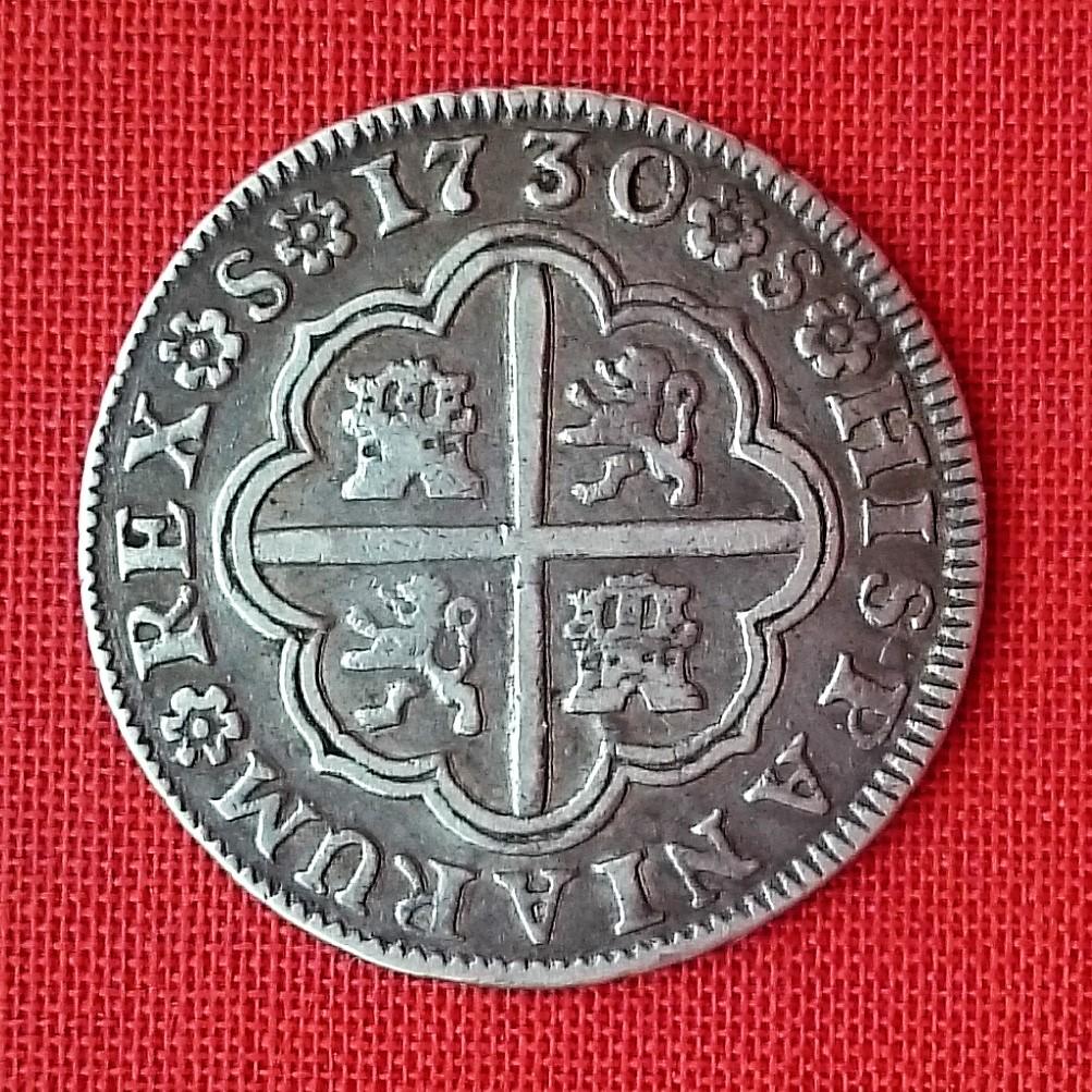 Felipe V – 2 Reales sin indicación de valor, 1730 ceca Sevilla 1730r10