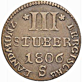 3 stuber. Ducado de Berg (Estados Alemanes) Maximilian IV Joseph 1806                        Estados G3210