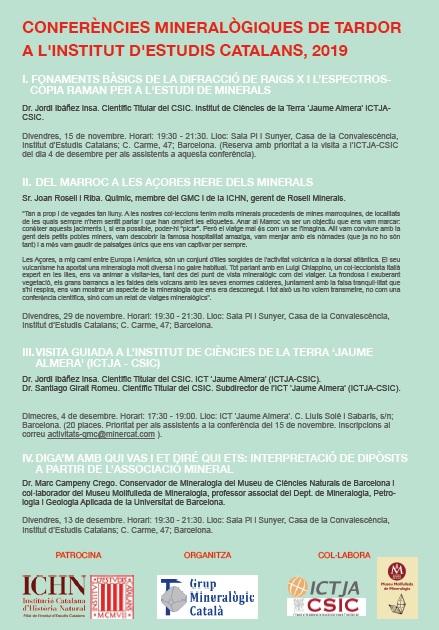 CONFERÈNCIES MINERALÒGIQUES DE TARDOR A L'INSTITUT D'ESTUDIS   CATALANS, 2019 122