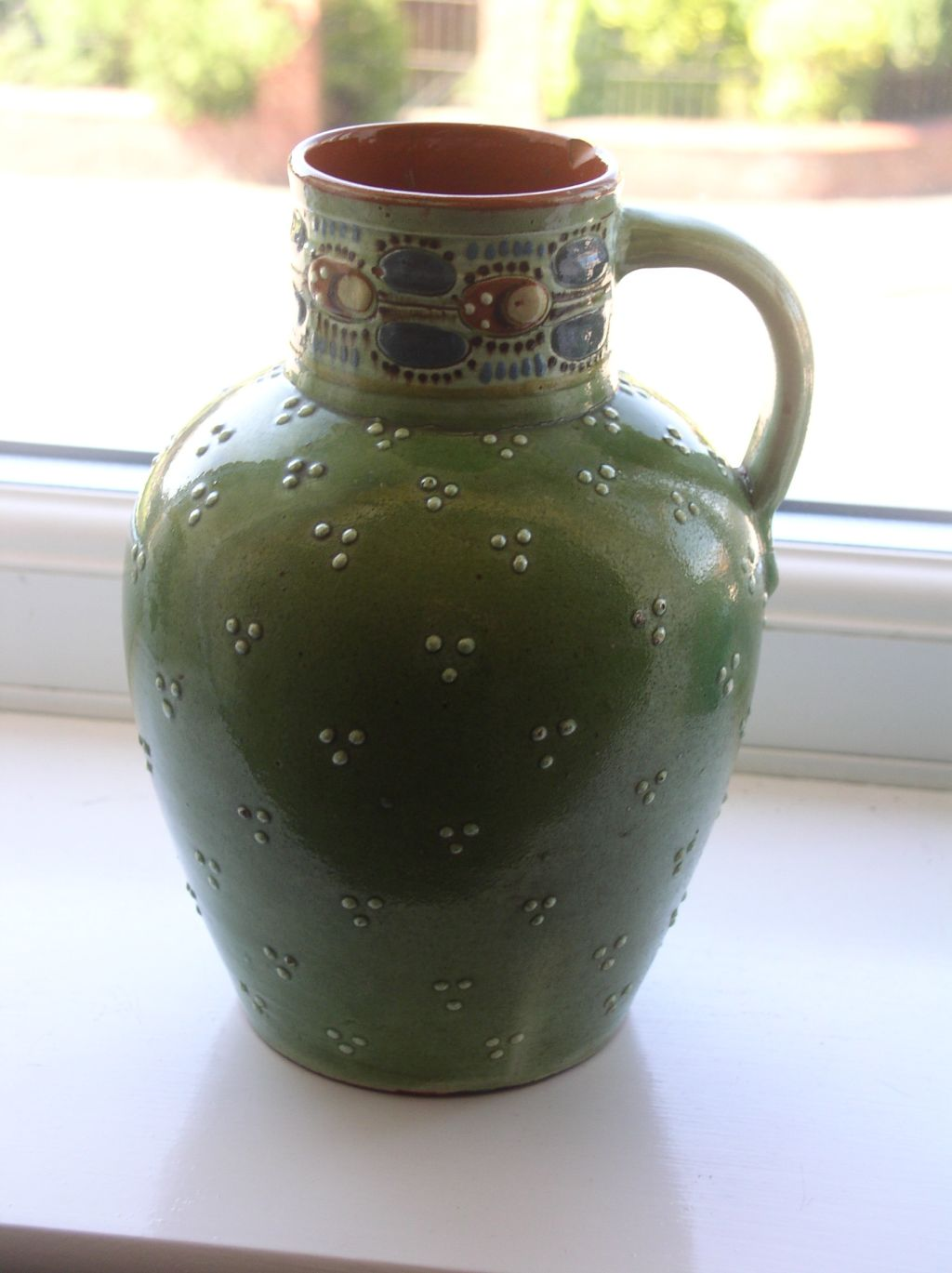 An old green jug with ladybird pattern - Paul Wranitzky P1010217