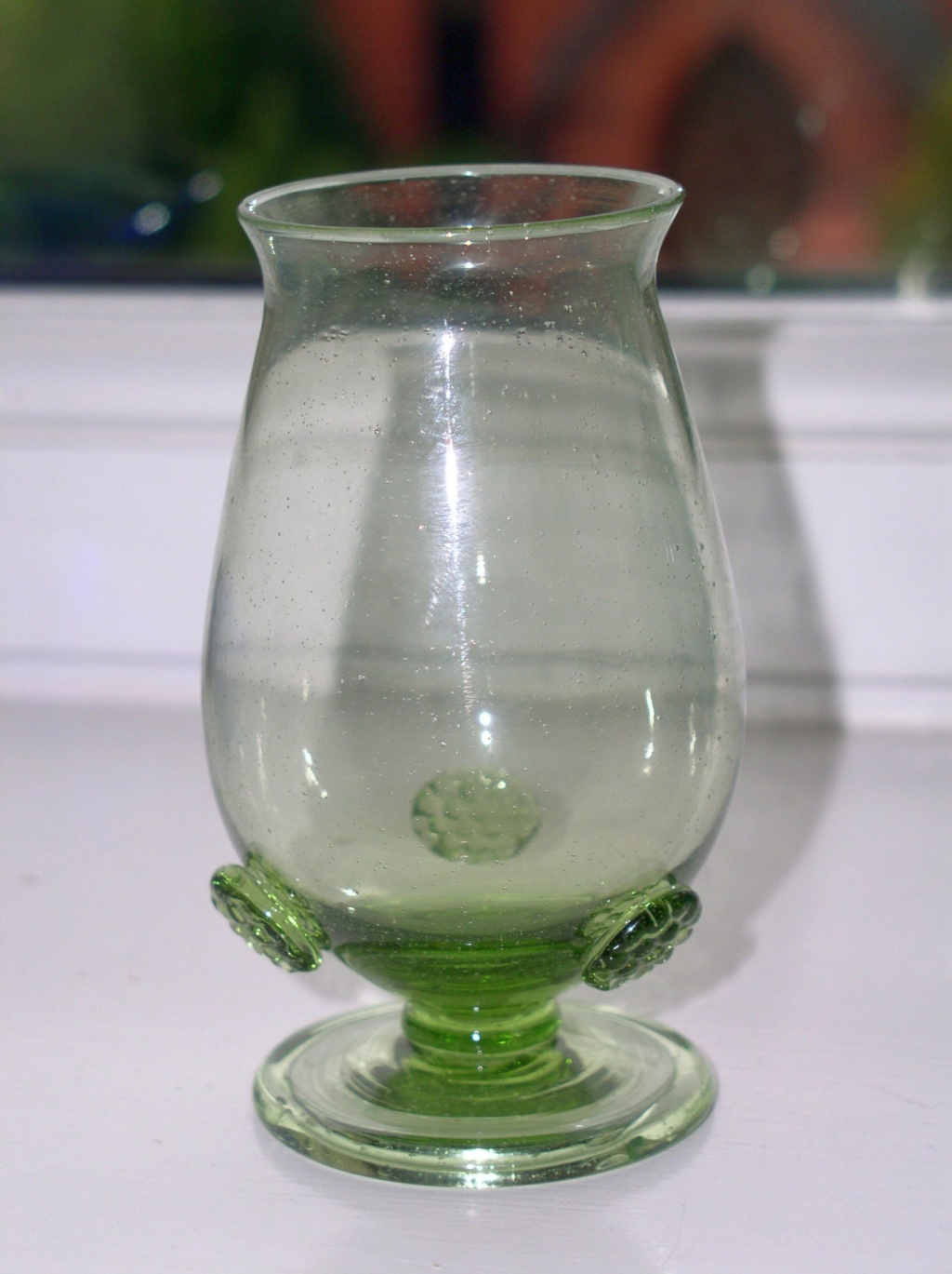 Unusual old folded foot green goblet with prunt's??? P1010334