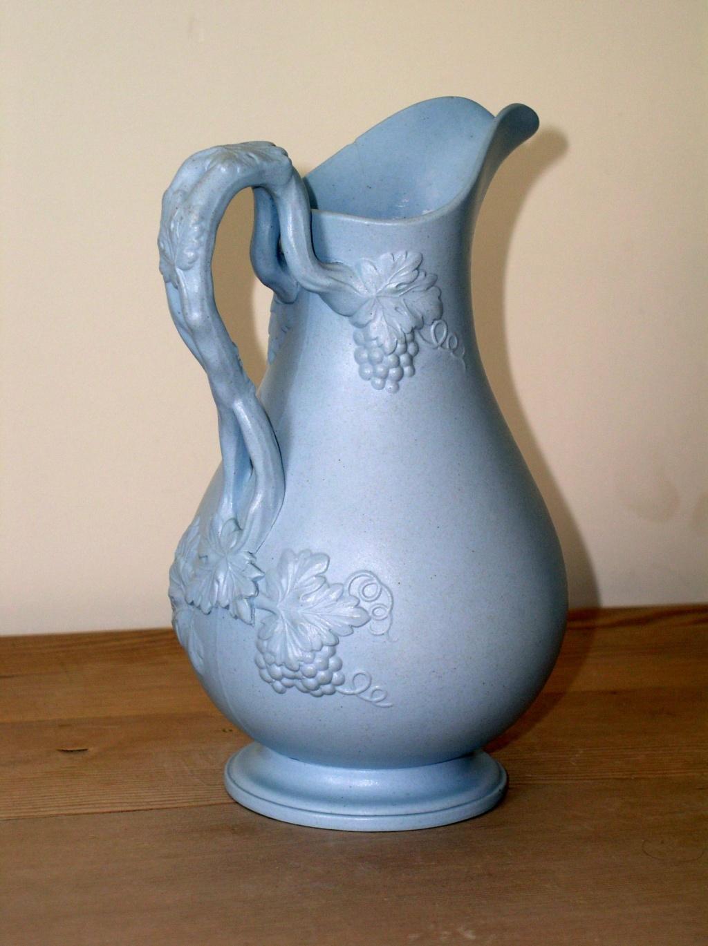 Blue Tinged Stoneware Victorian Fruiting Vine Handle Pitcher/Jug P1010337
