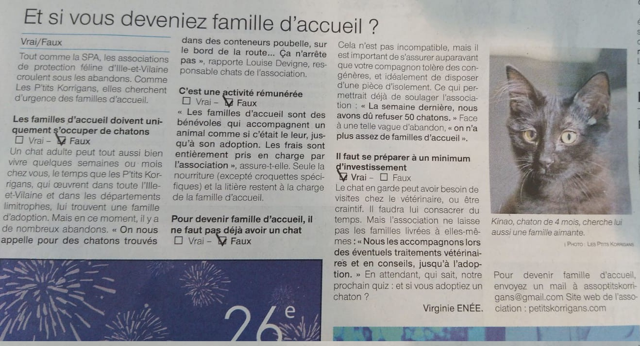 L'ADPK dans le Ouest France : Et si vous deveniez famille d'accueil ? 531d9311
