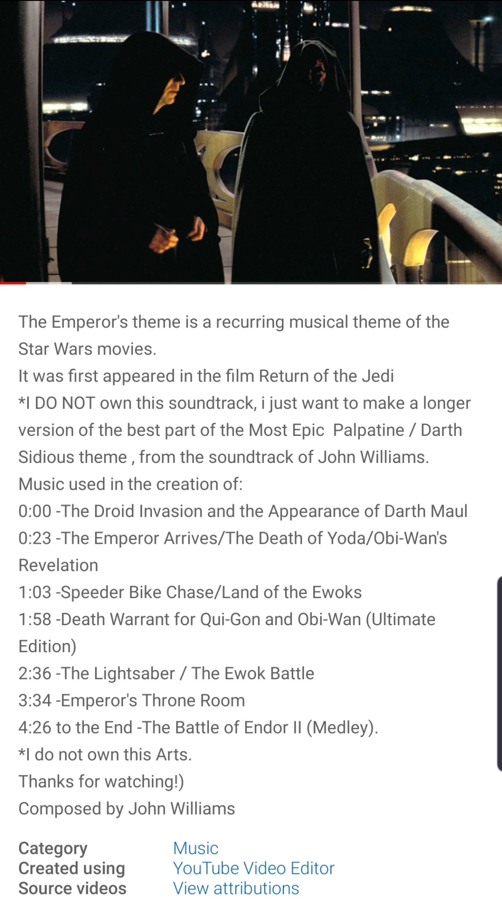 What is the music that is played when Yoda senses Mace Windu's death and Anakin's turn to the Dark Side? Screen19