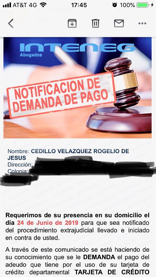 NOTIFICACIÓN DE DEMANDA DE PAGO   Db0d8310