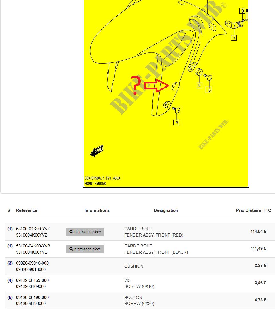 GSXS750 - Dépose catadioptre avant - Référence vis Vis_ca10