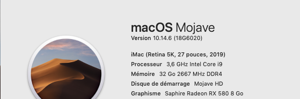 Mise a jour macOS Mojave 10.14.6 (18G6042) 18g60210