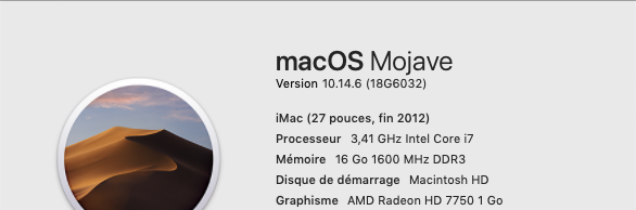 Mise a jour macOS Mojave 10.14.6 (18G6042) 18g60310