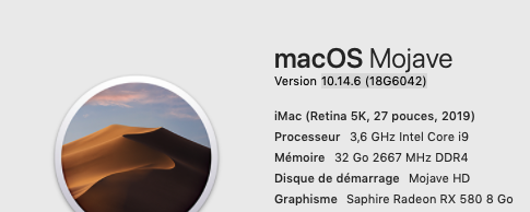 Mise a jour macOS Mojave 10.14.6 (18G6042) 18g60410
