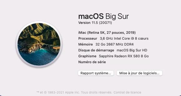 Mise à jour Big Sur 11.5 ( 20G71 ) 20g7110