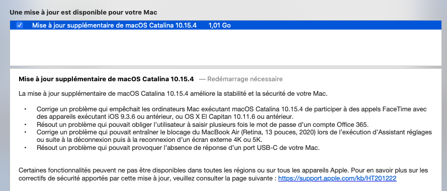 Mise a jour macOS Catalina 10.15.4 (19E266) Catali11