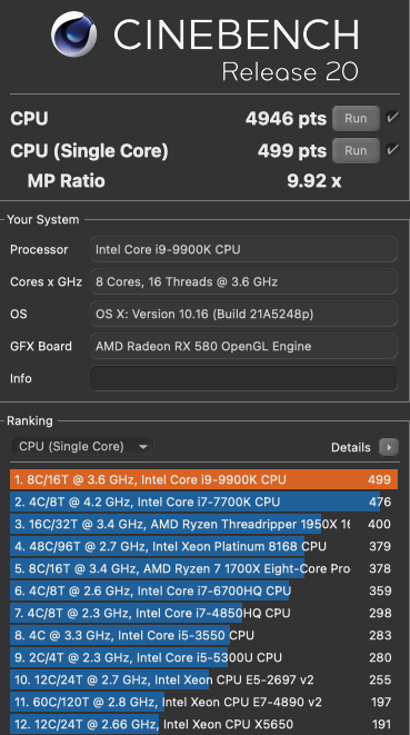 Benchmarks macOS Monterey  Cinebe10