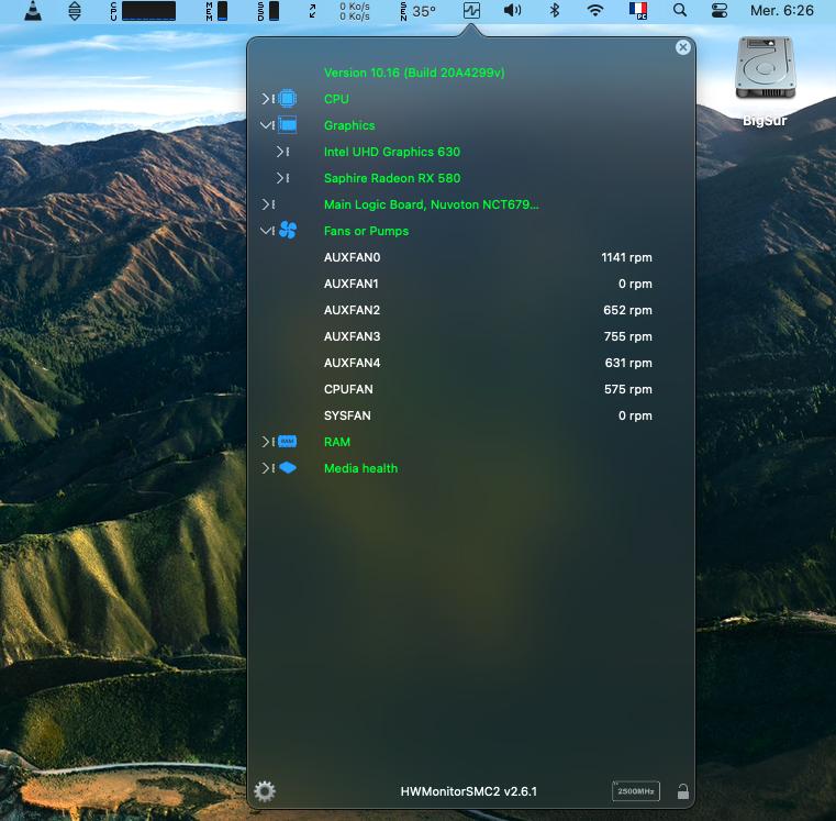 MacOS Big Sur Problèmes d'utilisation Hwmoni11