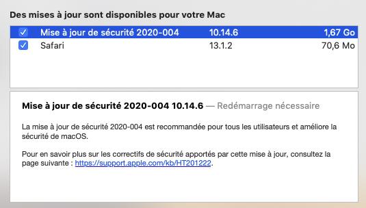 Mise a jour macOS Mojave 10.14.6 (18G6042) Maj_se10