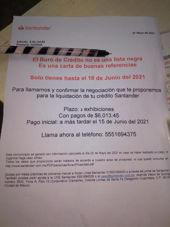 Adeudo $60,134.54 con Santander Inboun10