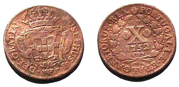Moneda colonial de José I de Portugal, 175... Moeda110