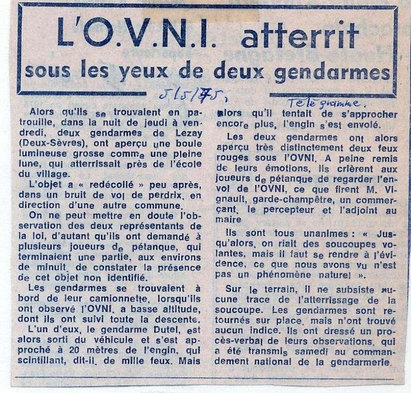 L'OVNI atterrit sous les yeux de deux gendarmes - Télégramme (05/05/1975) Lezay310