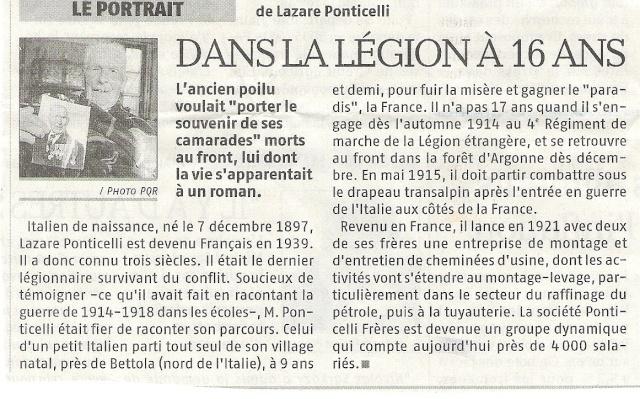Décés du dernier poilus, LAZARE PONTICELLI A_la_l10